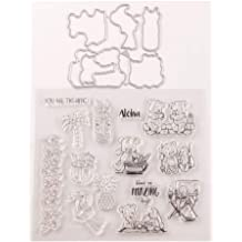 LZBRDY 6.5in Square Flower Leaves Branches Clear Stamps for Card Making and Scrapbooking Birthday Valentines Day Christmas Craft Silicone Stamps