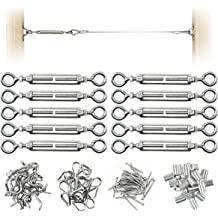 Muzata 10Pack Stainless Steel Cable Railing Kit Systems Fits 1//8Wire Rope Angle 180/°Ajustable Swage Turnbuckle Hardware,T316 Mraine Grade,CK07 with Installation Guide Video